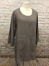 Moonshine Fashion Tunika 50%Leinen Shirt Lagenlook Übergröße 44 46 48 Neu braun