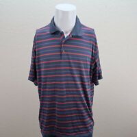 Adidas ClimaCool Blue Red AT&T Championshiop Striped Polo Shirt Mens Large