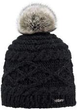 2017 Barts Claire Black Adult Beanie Faux Fur Pom Hat 1385001 Women's Lady