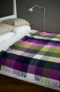 AVOCA Ireland Pure Lambswool Throw Blanket Pioneer Design Purple Green Check