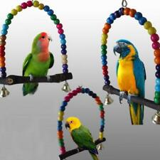 Bird Toy Colorful Wooden Parrot Budgie Cockatiel Lovebird Cage Swing Accessories