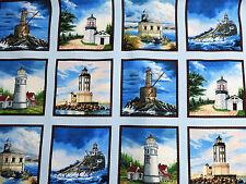 Lighthouses Blue West Coast Nautical Block Panel Elizabeth's Studio #6685