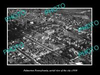 OLD LARGE HISTORIC PHOTO OF PALMERTON PENNSYLVANIA, AERIAL VIEW OF CITY c1930