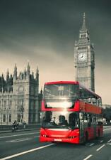 Vintage/CLASSIC Poster :RED BUS + BIG BEN  (028)
