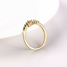 White Magic Chic Women Crystal Rhinestone Black Finger Engagement Ring Jewelry