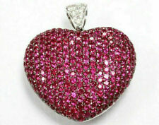 14k White Gold Over 2.50 Ct Round Cut Red Ruby & Diamond Heart Pendant Women's