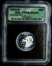2002-S DEEP CAMEO PROOF US SILVER- INDIANA Quarter, ICG- PF 68 .