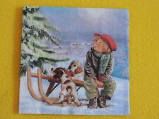 5 Servietten MAX Hunde Schlitten Weihnachten WINTER Dorf Junge Serviettentechnik