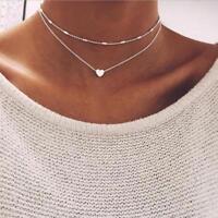 Necklace Heart Double Horn Pendant Gold Dot Luna Stella Brand Women Silver Neck