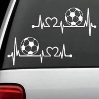2-Count Soccer Ball Heartbeat Monitor Decal Sticker Car Truck SUV Laptop *K1110a
