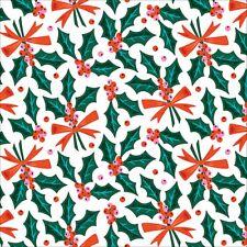 Organic Cotton Christmas Fabric Holly Jolly Clarice Giffords Tinsel Range Cloud9