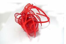 Coiled Looped Sinamay Rose & Feathers Fascinator Satin Alice Band Weddings Races Red
