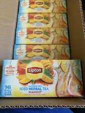 Lipton Caffeine Free Iced Herbal Tea Mango Family Size Tea Bags 3 boxes of 16