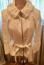 ZARA WOMAN BEAUTIFUL WHITE LINEN JACKET, COTTON LINING, ZIPPER FRONT, BELT,ELEGA