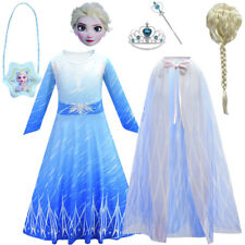 Childrens Kids Girls Queen Elsa 2 Fancy Costume Dress +Cape + Accessories Set