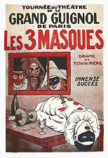 Art Les 3 Masques  Tournée du Grand Guignol de Paris  Poster Print