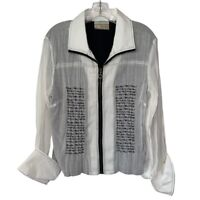 Carrie Allen Womens Jacket White Zip Up Lined Embroidered Collar 100% Cotton XL