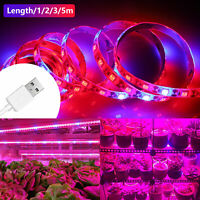 SMD 5050 LED Strip Grow Light Lamp Full Spectrum 4 Red 1 Blue Waterproof IP65 US