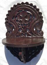 Pantalla del reloj Tallado Vintage Colgante De Pared Estante De Pared Colgante Soporte De Fruta De Madera