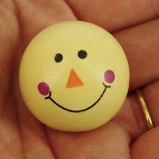 Pack 10 en Bois sourire Lemon Face Tête de poupée Perles, 28 mm ne sont pas confronté à des trous WH3