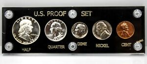 1950 High Grade Silver 5 Piece Proof Set w/ Black Capital Holder !!