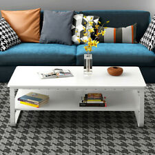 Modern High Gloss White Coffee Table Side End Table Living Room Furniture 22.8in