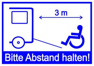 Aufkleber Rollstuhl Behindert Auto Bitte 3m Abstand halten Rollstuhlfahrer