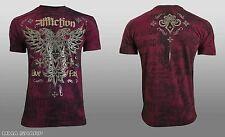 Affliction Men's Atol Tee Shirt Burgundy Lava Wash Large