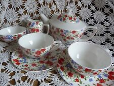 WHITTARD OF CHELSEA TEA FOR 2 Red Roses Blue Floral, Jug Bowl, 2 Cups Saucers VG