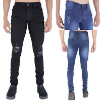 MENS RIPPED SPRAY ON JEANS SUPER STRETCH RIP FRAYED  BLACK & STONEWASH BY AD RUS