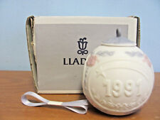 New In Box Lladro 1991 Bells Pink Blue 3 Inch Ball Ornament #5829 With Ribbon