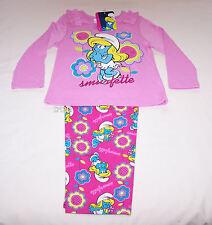 The Smurfs Smurfette Girls Pink Printed Cotton Flannel Pyjama Set Size 4 New
