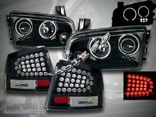06-08 DODGE CHARGER TWO HALO CCFL LED PROJECTOR HEADLIGHTS + LED TAIL LIGHTS BLK