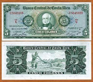 Costa Rica, 5 Colones, 29-5-1967, P-228, Scarce in UNC