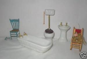 Antique style white porcelain china bathtub, sink, commode+more GC