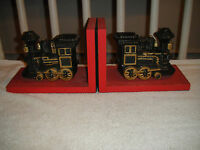 Vintage Train Ceramic Bookends Mounted On Wood Boards Pair Unique Interesting