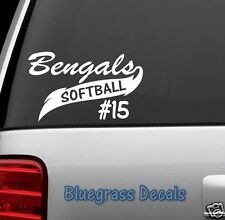 PERSONALIZED SPORTS SOFTBALL TEAM VINYL DECAL STICKER for CAR TRUCK SUV