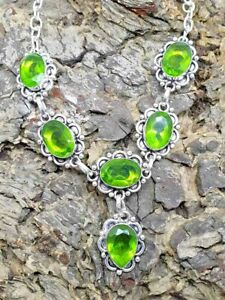 "Green Peridot Silver Overlay Handmade Gemstone Necklace New 19"" Adjustable"
