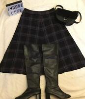 Laura Ashley wool blend Long Lined A Line Check Tartan Black Size 14 Skirt