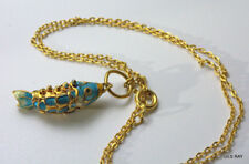 Vintage Chinese Cloisonne Enamel Articulated Turquoise Gold Koi Fish Necklace