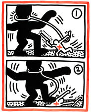 Untitled 3 from Free South Africa by Keith Haring A2 Quality Canvas Art Print
