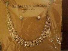 NWT Marbella & Ashford Gold Statement Rhinestones Necklace & Earrings Set