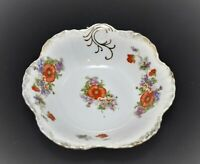 VINTAGE PORCELAIN SERVING BOWL WITH POPPY FLOWERS GOLD GILT