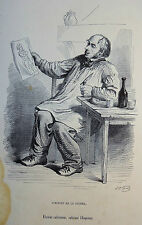 Caricature Humour GRANDVILLE Jérome Paturot REYBAUD Eleveur cultivateur 1846