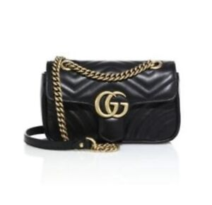 Gucci gg Crossbody Marmont Calfskin Matelasse Small Black Leather Shoulder Bag