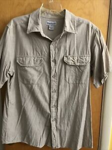 Carhartt Vintage Men's Large Tan Button Down Short Sleeve Relaxed Fit Shirt