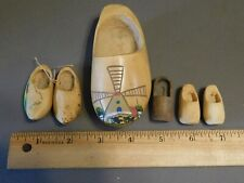 Vintage Lot Of Various Sized Carved Wooden Souvenir Clogs Holland