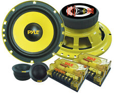 NEW Pyle Pair of 6.5 400W Speakers + 2 Tweeters + 2 Passive Crossovers + Grills