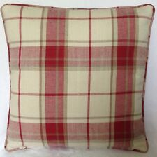 2 X Piped Cushion Covers Laura Ashley Highland Check Cranberry Both Sides 16""