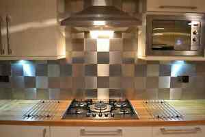 Pack of 10 STAINLESS STEEL WALL / KITCHEN SPLASH BACK TILES 148mm. Approx 6 inch